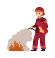 firefighter in red protective uniform and helmet vector image