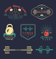 fitness logos set hand sketched athletic vector image vector image