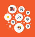 flat icons archer solar bull and other vector image vector image