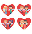 four hearts with lovers in them valentine cards vector image vector image