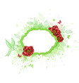 Green banner with red peony vector image vector image