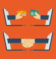 hands out a laptop - buying goods and handshake vector image vector image