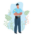 handsome policeman standing vector image vector image