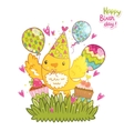 Happy Birthday card background with a bird vector image vector image