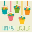 Happy Easter greeting card with decorative buckets vector image vector image