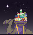 happy epiphany day camel transporting gifts and vector image