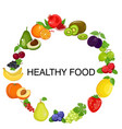 healthy food circle of different fruits in flat vector image