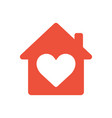 heart sign in house icon ed icon love home vector image vector image