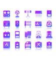 hvac simple gradient icons set vector image