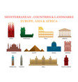 mediterranean europe africa asia countries vector image vector image
