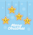 merry christmas cartoon stars hanging decoration vector image