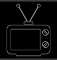 old tv white color path icon vector image vector image