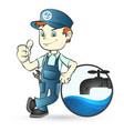 plumber and faucet vector image vector image