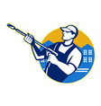 Power Washing Pressure Water Blaster Worker vector image vector image