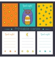 Printable cards with owl vector image vector image