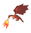 red dragon spitting fire mythical fire breathing vector image vector image