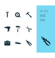repair icons set collection of shears bolt vector image vector image