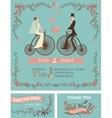 Retro wedding invitationBridegroomretro bicycle vector image vector image