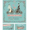 Retro wedding invitationBridegroomretro bicycle vector image