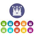 royal crown icons set flat vector image vector image