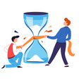 saving time concept hourglass repairing isolated vector image vector image