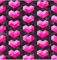 Seamless Geometric Pink Hearts Shapes on vector image