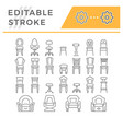 set line icons chair vector image
