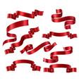set red ribbons vector image