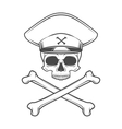 Skull with general hat and cross bones Dead crazy vector image