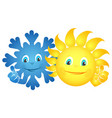 sun and snowflake happy vector image vector image