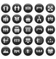 team building training icons set vetor black vector image