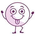 tongue out face emoticon kawaii character vector image vector image