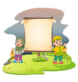 two cute children with ramadhan lantern vector image vector image