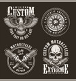 vintage custom motorcycle labels vector image vector image