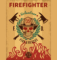 vintage firefighter poster vector image vector image