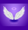 white angel wings and shining nimbus realistic vector image