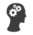 human head silhouette with gears vector image