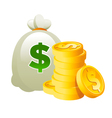 Bag and Dollar Gold Coins vector image