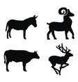 deer goat buffalo donkey silhouettes vector image