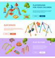horizontal banners set with isometric vector image