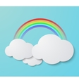 modern rainbow with clouds background vector image