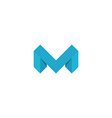 Logo M letter blue 3D mockup isometric graphic vector image