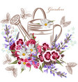 background with garden flowers and butterflies vector image