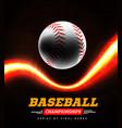 baseball in backlight on a black background vector image vector image