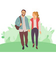 bearded man woman with high tail walk in forest vector image vector image
