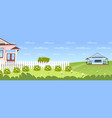 beautiful spring landscape with house cottage vector image