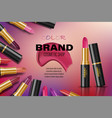 beauty lipstick ads different color lipsticks in vector image vector image