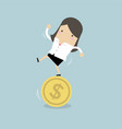businesswoman stand on coin vector image vector image