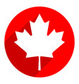 canadian maple leaf on circle shape in flat style vector image
