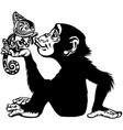 cartoon chimp holding a chameleon black and white vector image vector image